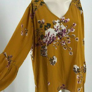 ISO Yellow Floral Bell-Sleeve Top